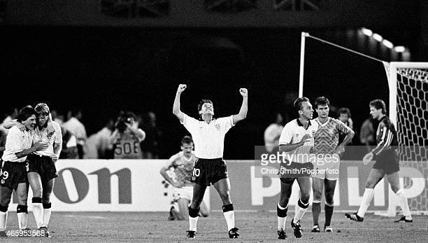 Gary Lineker celebrates after scoring for England during the FIFA World Cup SemiFinal between England and West Germany in Turin on 4th July 1990 West...
