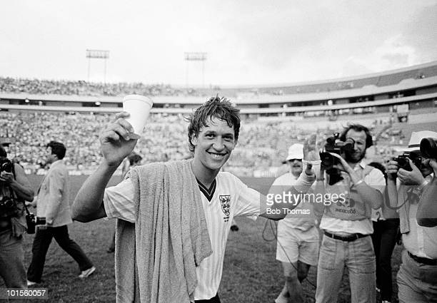 Gary Lineker of England celebrates after scoring all three goals in England's 30 win over Poland in their World Cup Finals match held at the Estadio...