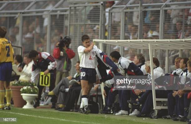 Gary Lineker of England is taken off the field early in his final game for England during the European Championships match against Sweden Sweden won...