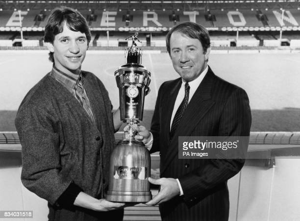 Gary Lineker of Everton has been chosen as player of the year by his fellow footballers with Everton manager Howard Kendall with the trophy at...