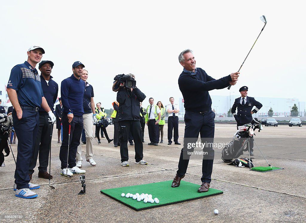 Gary Lineker plays a shot to a target 180 yards away during an event to raise funds for the Kate and Justin Rose Foundation at Heathrow Airport on September 29, 2014 in London, England. British Airways has donated flights to the Kate and Justin Rose foundation, which was created to inspire children through nutrition, education and experiences