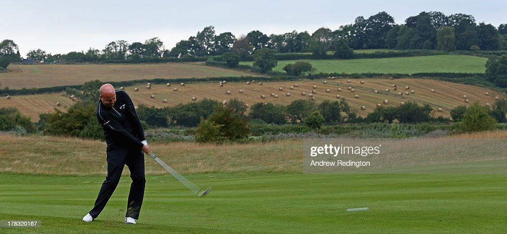 Gary Lockerbie of England plays his second shot on the first hole during the first round of the ISPS Handa Wales Open on the Twenty Ten course at The...