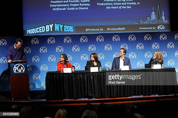 Gary Lucchesi speaks with producers Meryl Poster Donna Gigliotti Michael Travers and Paula Weinstein during the PGA Produced By New York Conference...