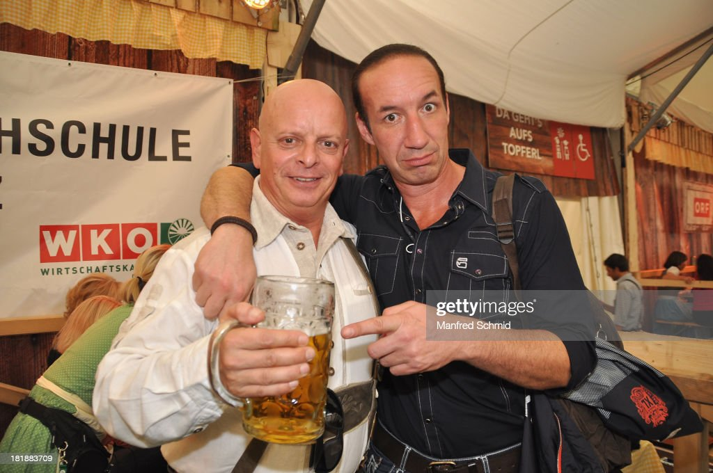 Gary Lux (L) and Michael Seida attend the 'Wiener Wirten Tag' as part of Wiener Wiesn Festival 2013 on September 25, 2013 in Vienna, Austria.