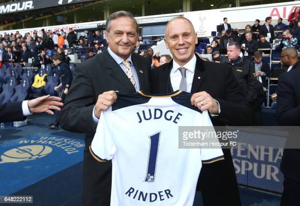 Gary Mabbutt and Judge Rinder pose for photos at half time during the Premier League match between Tottenham Hotspur and Everton at White Hart Lane...