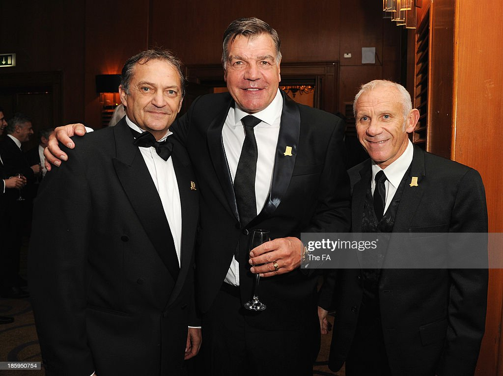 Gary Mabbutt, West Ham manager <a gi-track='captionPersonalityLinkClicked' href=/galleries/search?phrase=Sam+Allardyce&family=editorial&specificpeople=214691 ng-click='$event.stopPropagation()'>Sam Allardyce</a> and <a gi-track='captionPersonalityLinkClicked' href=/galleries/search?phrase=Peter+Reid&family=editorial&specificpeople=654041 ng-click='$event.stopPropagation()'>Peter Reid</a> pose during the FA150 Gala Dinner commemorating the Football Association's 150th year at the Grand Connaught Rooms on October 26, 2013 in London, England.