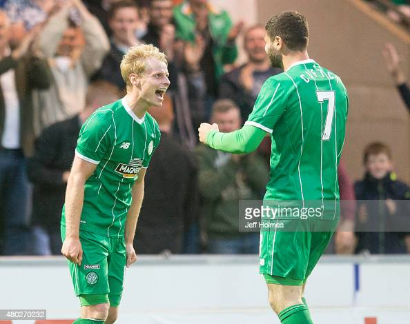 Gary MackaySteven of Celtic celebrates his goal during the Pre Season Friendly between Celtic and Real Sociedad at St Mirren Park on July 10th 2015...