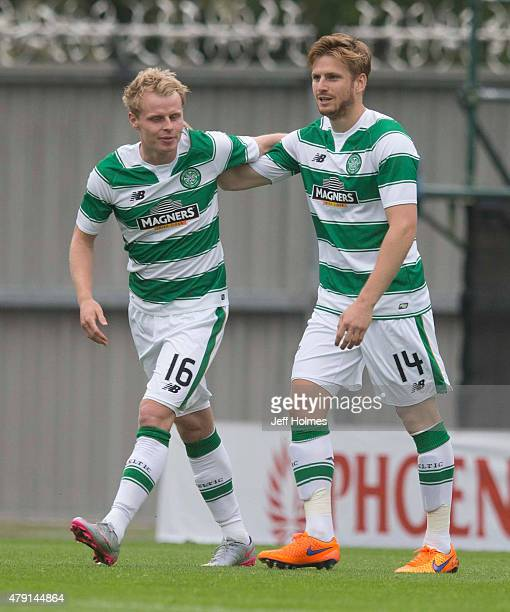Gary MackaySteven of Celtic celebrates his goal with teammate Stuart Armstrong during the Pre Season Friendly between Celtic and De Bosh at St Mirren...