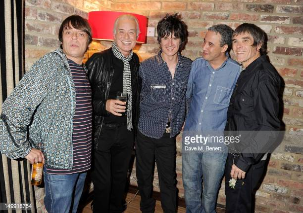 Gary 'Mani' Mounfield Jimmy Page John Squire Alan 'Reni' Wren and Ian Brown attend as The Stone Roses perform a secret gig at adidas Underground on...