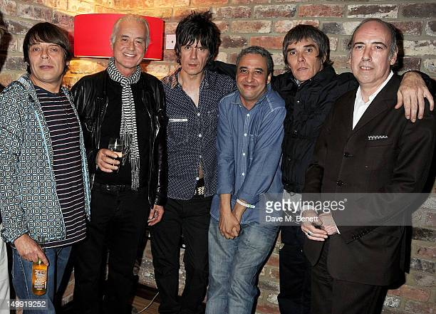 Gary 'Mani' Mounfield Jimmy Page John Squire Alan 'Reni' Wren Ian Brown and Mick Jones attend as The Stone Roses perform a secret gig at adidas...
