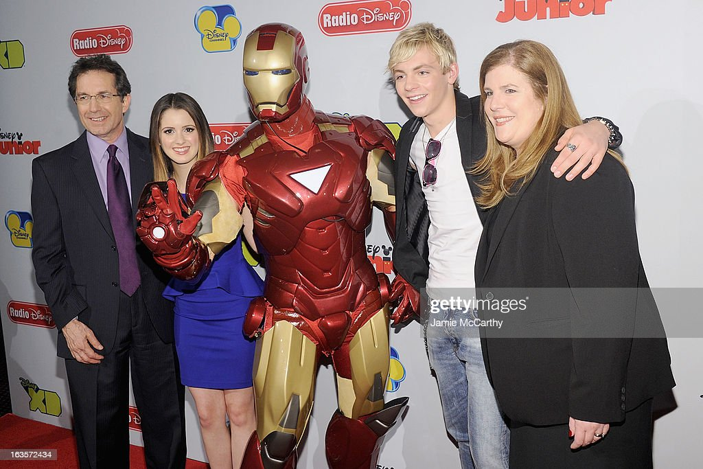 Gary Marsh,president and CEO of Disney channels, Laura Marano,Iron Man, Ross Lynch and Rita Ferro ,executive Vice President of Disney media sales and marketing attend the Disney Channel Kids Upfront 2013 at Hudson Theatre on March 12, 2013 in New York City.