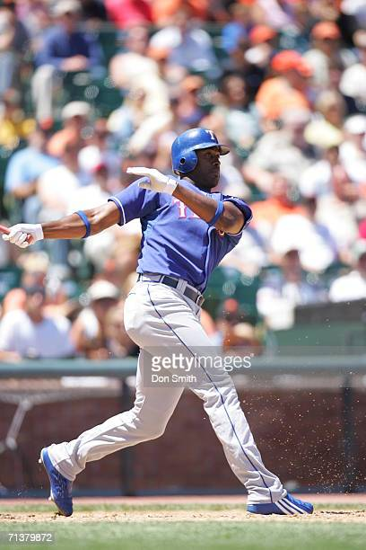 Gary Matthews Jr #14 of the Texas Rangers bats during the game against the San Francisco Giants at ATT Park in San Francisco California on June 29...