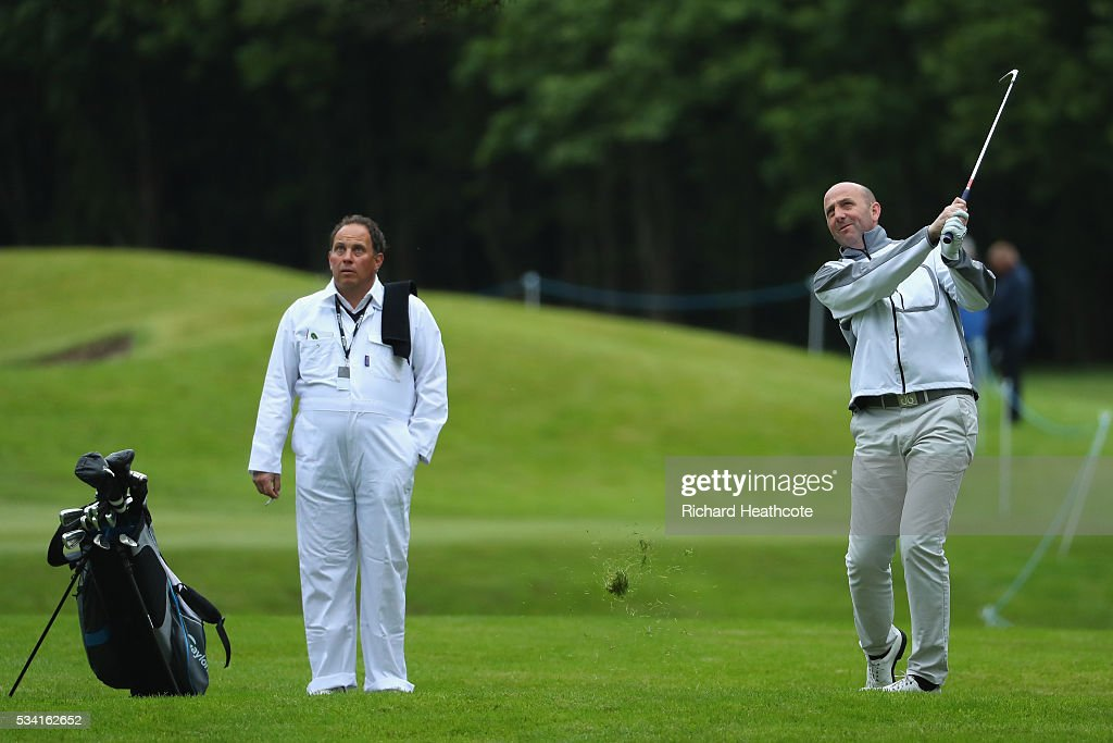 <a gi-track='captionPersonalityLinkClicked' href=/galleries/search?phrase=Gary+McAllister&family=editorial&specificpeople=2392560 ng-click='$event.stopPropagation()'>Gary McAllister</a> in action during the Pro-Am prior to the BMW PGA Championship at Wentworth on May 25, 2016 in Virginia Water, England.