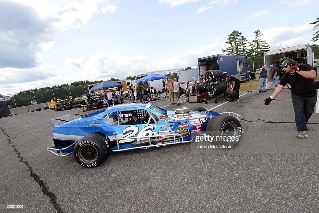 Gary McDonald driver of the #26 Canto Paving/Ferguson Waterworks Chevrolet prepares for practice at the Call Before You Dig 811 150 at Stafford Motor Speedway August 8, 2014 in Stafford, Connecticutt.