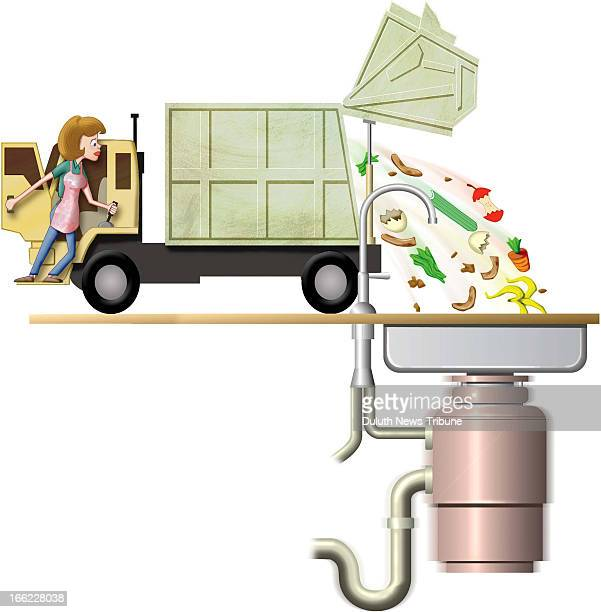 Gary Meader color illustration of housewife opening garbage truck and dumping all sorts of stuff into the kitchen sink's garbage disposal