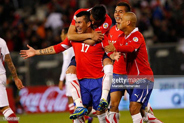 Gary Medel from Chile celebrates his goal aganist Peru during the match between Chile and Peru as part of the first round of the South American...