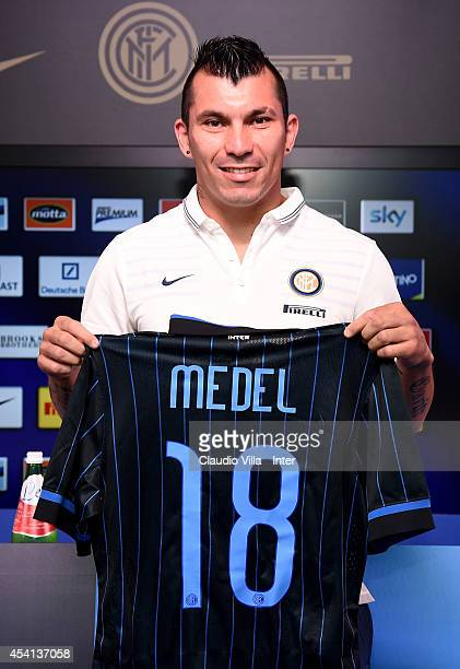 Gary Medel is presented as new signing for FC Internazionale Milano during press conference at Appiano Gentile on August 25 2014 in Como Italy