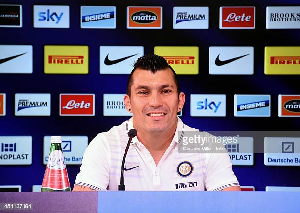 Gary Medel new signing for FC Internazionale Milano speaks to the media during a press conference at the club's training ground at Appiano Gentile on...