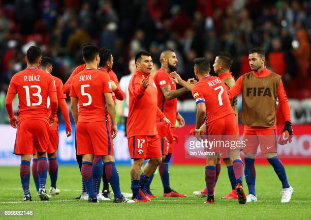Gary Medel of Chile and Alexis Sanchez of Chile celebrate with their team mates after the FIFA Confederations Cup Russia 2017 Group B match between...