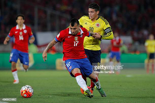 Gary Medel of Chile and James Rodriguez of Colombia fight for the ball during a match between Chile and Colombia as part of FIFA 2018 World Cup...