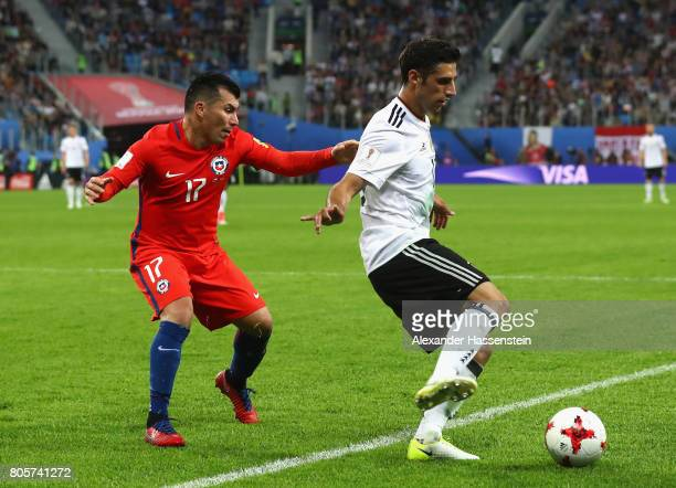 Gary Medel of Chile and Lars Stindl of Germany battle for possession during the FIFA Confederations Cup Russia 2017 Final between Chile and Germany...