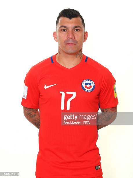 Gary Medel of Chile during a portrait session ahead of the FIFA Confederations Cup Russia 2017 at the Crowne Plaza Hotel on June 15 2017 in Moscow...