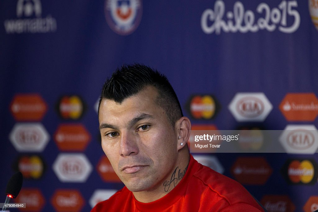Gary Medel of Chile looks on during a press conference at Nacional Stadium on July 03, 2015 in Santiago, Chile. Chile will face Argentina in the final match as part of 2015 Copa America Chile on July 04.