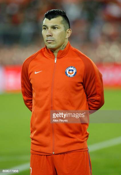 Gary Medel of Chile looks on during the national anthem prior a match between Chile and Ecuador as part of FIFA 2018 World Cup Qualifiers at...