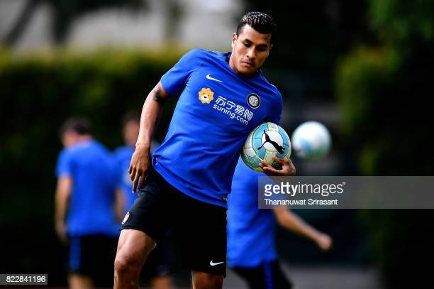 Gary Medel of FC Inter Milan holds the ball during a training session of International Champions Cup training session at Bishan Stadium on July 26...