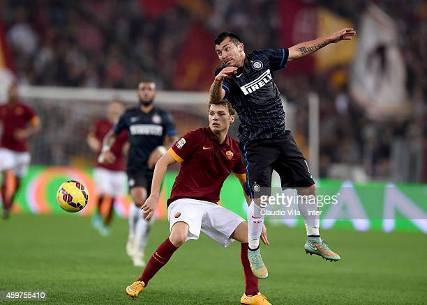 Gary Medel of FC Internazionale and Adem Ljajic of AS Roma compete for the ball during the Serie A match between AS Roma and FC Internazionale Milano...