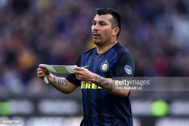 Gary Medel of FC Internazionale holds the captain's armband during the Serie A match between FC Internazionale and Atalanta BC at Stadio Giuseppe...