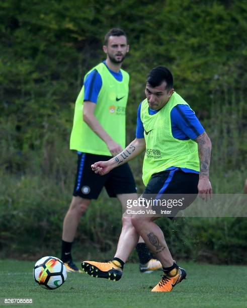 Gary Medel of FC Internazionale in action during a training session at Suning Training Center at Appiano Gentile on August 2 2017 in Como Italy