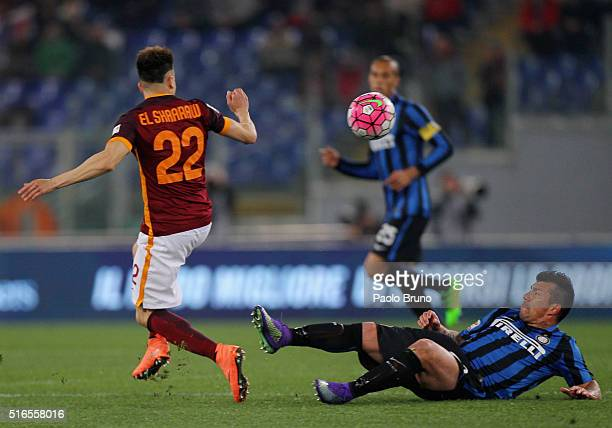 Gary Medel of FC Internazionale Milano competes for the ball with Stephan El Shaarawy of AS Roma during the Serie A match between AS Roma and FC...