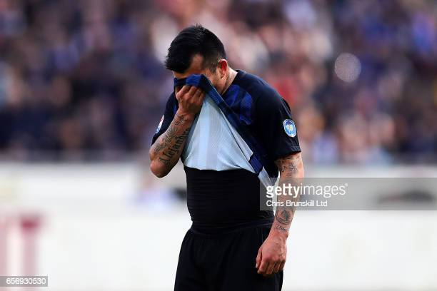 Gary Medel of FC Internazionale reacts during the Serie A match between FC Internazionale and Atalanta BC at Stadio Giuseppe Meazza on March 12 2017...