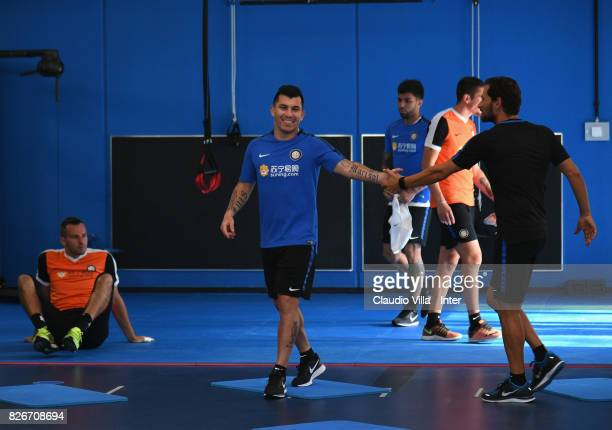 Gary Medel of FC Internazionale smiles prior to the training session at Suning Training Center at Appiano Gentile on August 2 2017 in Como Italy