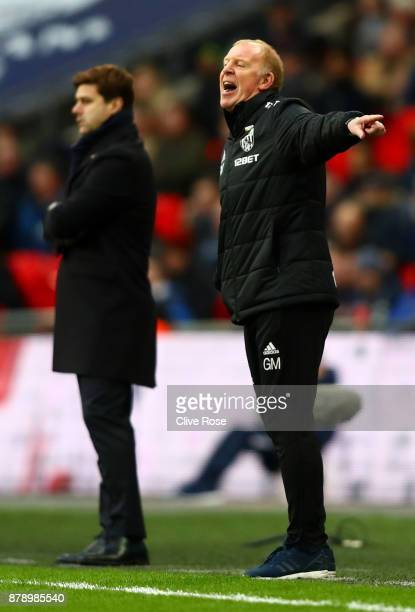 Gary Megson Caretakermanager of West Bromwich Albion reacts during the Premier League match between Tottenham Hotspur and West Bromwich Albion at...