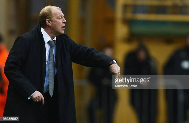 Gary Megson manager of Bolton Wanderers gives out instructions during the Barclays Premier League match between Wolverhampton Wanderers and Bolton...