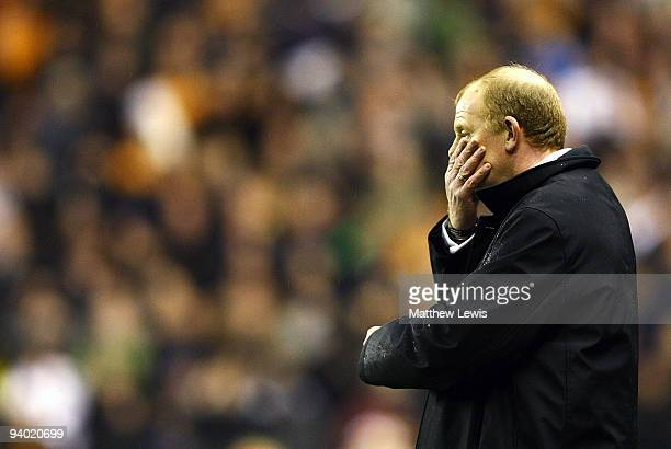 Gary Megson manager of Bolton Wanderers looks on during the Barclays Premier League match between Wolverhampton Wanderers and Bolton Wanderers at...