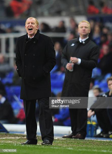 Gary Megson the Sheffield Wednesday coach shouts instructions as Alex McLeish the Birmingham City coach looks on during the FA Cup Sponsored by eon...