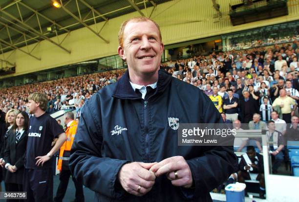Gary Megson the West Bromwich Albion manager gives a smile prior to the game against Bradford as his team was promoted to the Premiership during the...