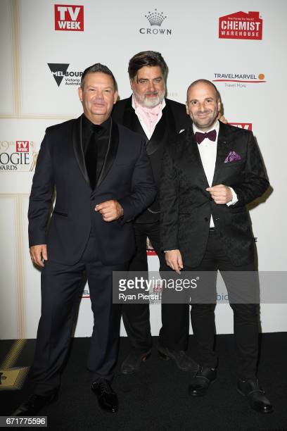 Gary Mehigan Matt Preston and George Calombaris arrive at the 59th Annual Logie Awards at Crown Palladium on April 23 2017 in Melbourne Australia