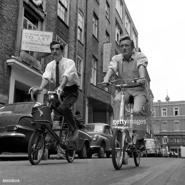 Gary Miller right and Gary Raymond on Moulton bicycles to get from home to the Lyris Theatre where they are appearing in 'She Loves Me'