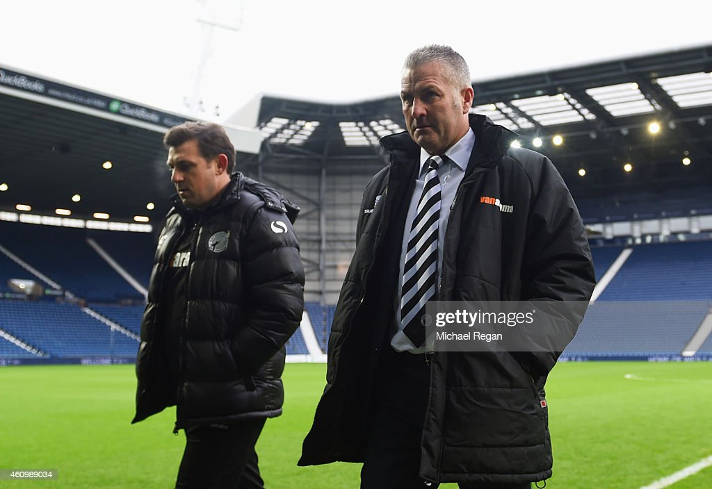 Gary Mills manager of Gateshead looks on prior to the FA Cup Third Round match between West Bromwich Albion and Gateshead at The Hawthorns on January...
