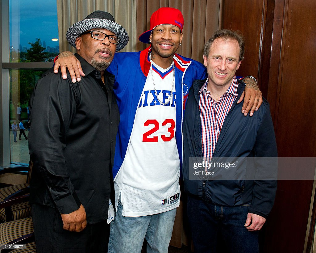 Gary Moore, <a gi-track='captionPersonalityLinkClicked' href=/galleries/search?phrase=Allen+Iverson+-+Basketball+Player&family=editorial&specificpeople=201479 ng-click='$event.stopPropagation()'>Allen Iverson</a> and Philadelphia 76ers co-owner Joshua Harris pose at the Wells Fargo Center on May 23, 2012 in Philadelphia, Pennsylvania. Iverson's original Reebok Question re-launches Friday, May 25th for the first time since 1996.