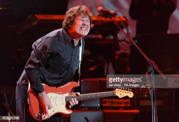 Gary Moore performs onstage during The Miller Strat Pack concert held at the Wembley Arena London