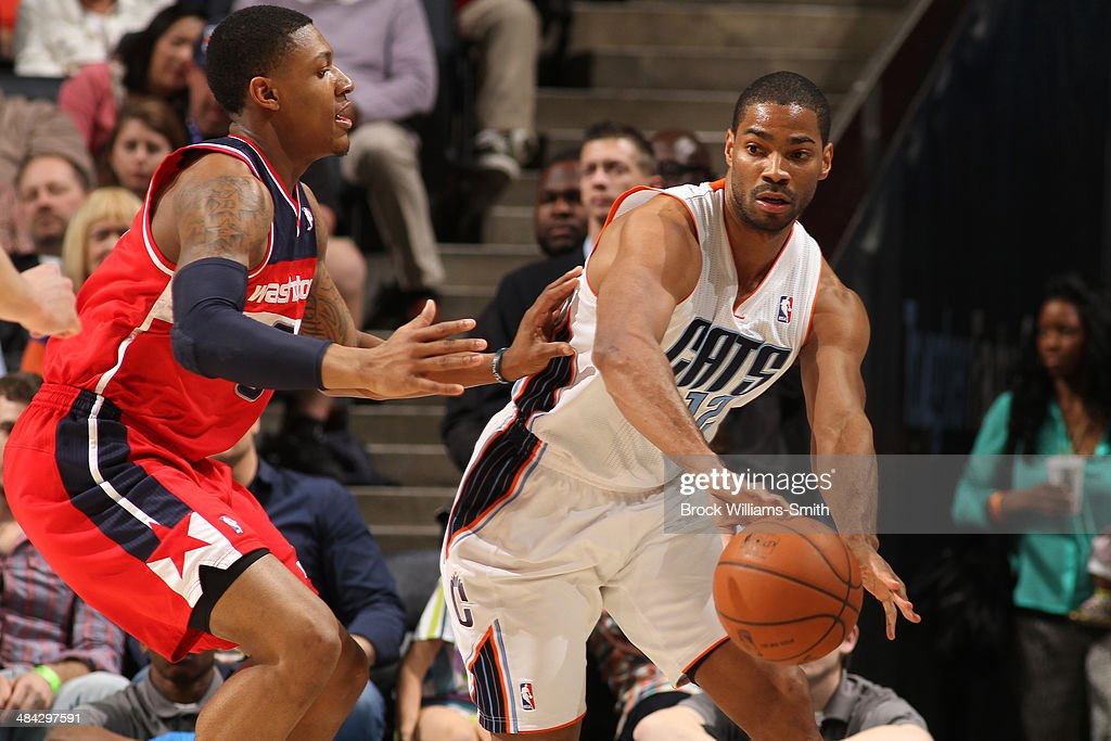 <a gi-track='captionPersonalityLinkClicked' href=/galleries/search?phrase=Gary+Neal&family=editorial&specificpeople=5085165 ng-click='$event.stopPropagation()'>Gary Neal</a> #12 of the Charlotte Bobcats makes a pass against the Washington Wizards at the Time Warner Cable Arena on March 31, 2014 in Charlotte, North Carolina.