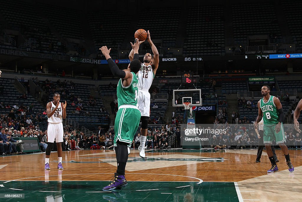 <a gi-track='captionPersonalityLinkClicked' href=/galleries/search?phrase=Gary+Neal&family=editorial&specificpeople=5085165 ng-click='$event.stopPropagation()'>Gary Neal</a> #12 of the Milwaukee Bucks shoots against the Boston Celtics on February 10, 2014 at the BMO Harris Bradley Center in Milwaukee, Wisconsin.
