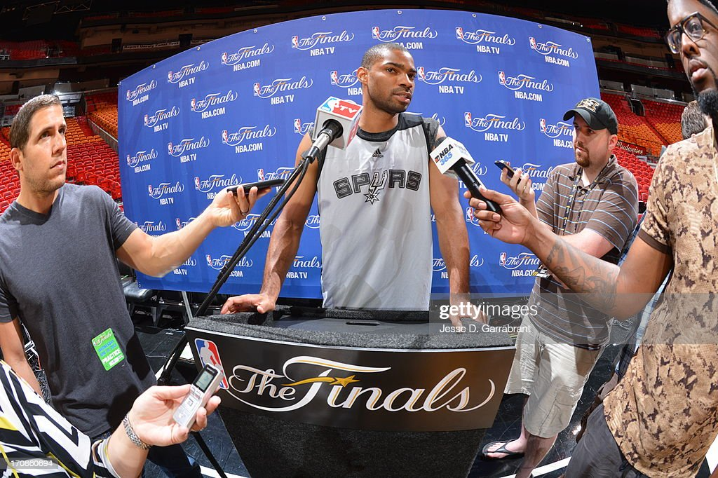 Gary Neal of the San Antonio Spurs addresses the media as part of the 2013 NBA Finals on June 19, 2013 at American Airlines Arena in Miami, Florida.