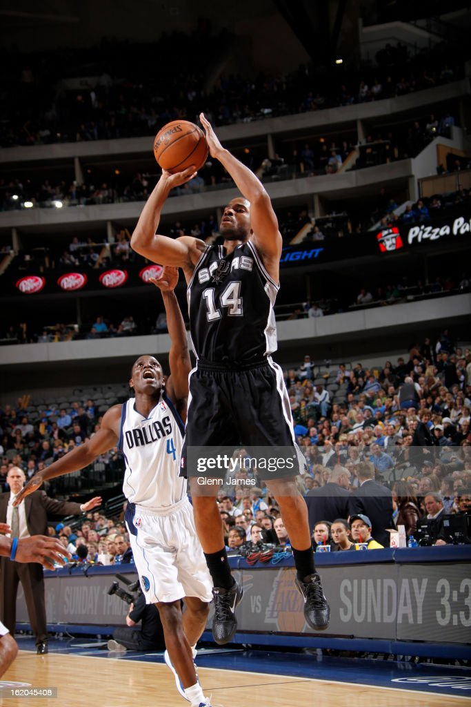 <a gi-track='captionPersonalityLinkClicked' href=/galleries/search?phrase=Gary+Neal&family=editorial&specificpeople=5085165 ng-click='$event.stopPropagation()'>Gary Neal</a> #14 of the San Antonio Spurs takes a shot against the Dallas Mavericks on January 25, 2013 at the American Airlines Center in Dallas, Texas.