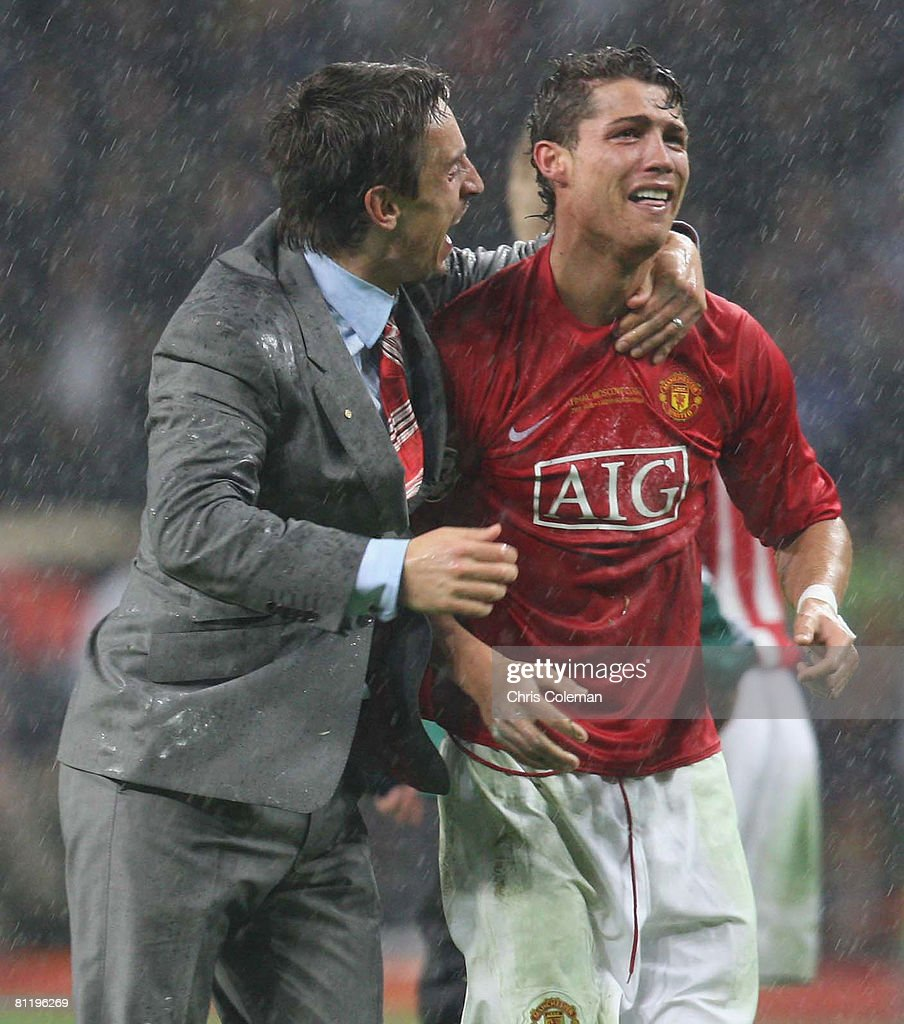 Gary Neville and Cristiano Ronaldo of Manchester United celebrate after winning the UEFA Champions League Final match between Manchester United and Chelsea at Luzhniki Stadium on May 21 2008 in Moscow, Russia.